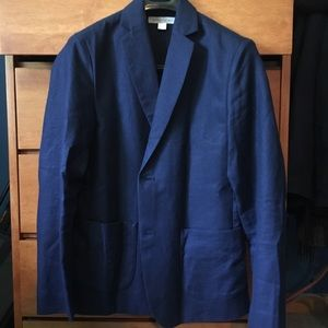 NWOT Outerknown Linen-Wool blue blazer, slim